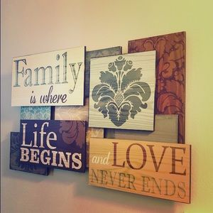 """Other - Family is where life begins Sign 20""""x13"""""""